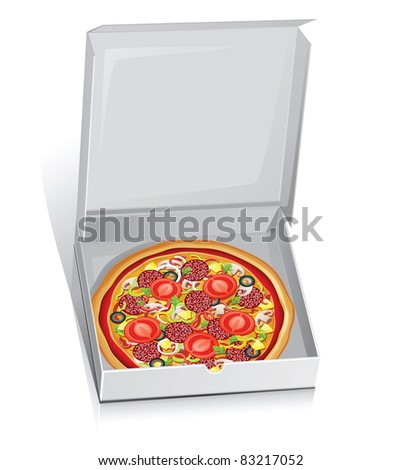 Raster illustration of pizza in a paper box.Isolated on white.