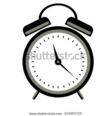 Raster illustration of red alarm clock, isolated on the white background