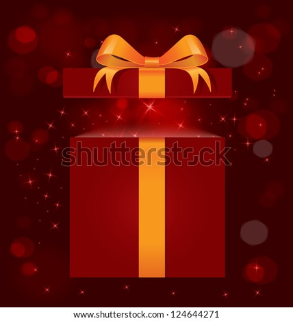 Raster illustration of red gift box with gold ribbon bow and magic light out