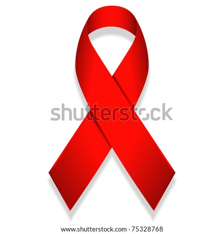 raster illustration of red ribbon isolated on white background - stock photo