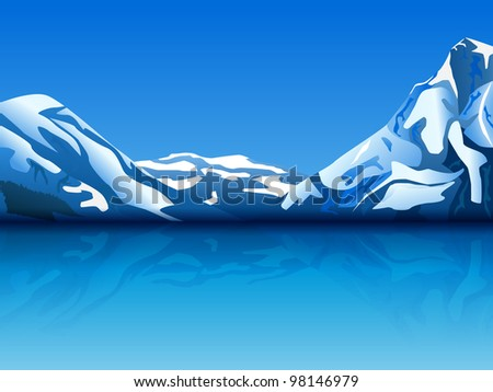 raster illustration of snowy mountains with reflection in the water, eps10 file, transparency used, vector version available