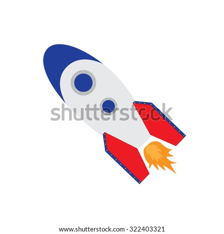 raster illustration of space ship rocket, rocket launch raster isolated icon, rocket toy - stock photo