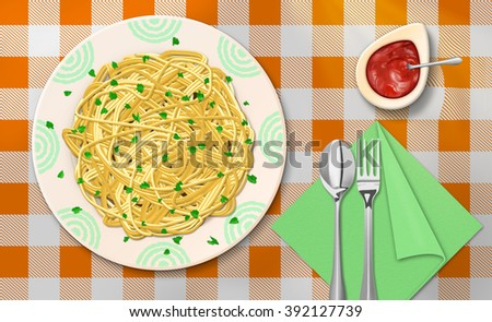 Raster Illustration of Spaghetti Dinner With Ketchup on The Table - stock photo