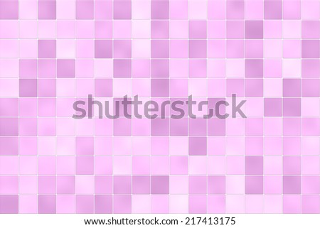 Raster illustration of square bathroom shower tiles in random shades of pink. For use as a holiday background or design element. - stock photo