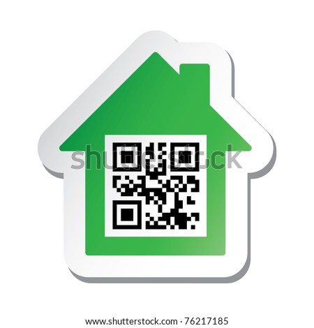 Raster illustration of the real estate signboard or sticker with 'House for Sale' data in qr code.