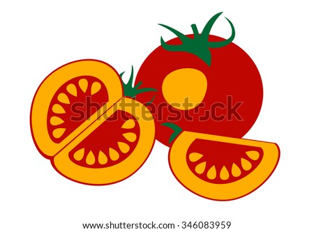 Raster illustration of tomato, isolated over white background/ Series of food and drink and ingredients for cooking. - stock photo
