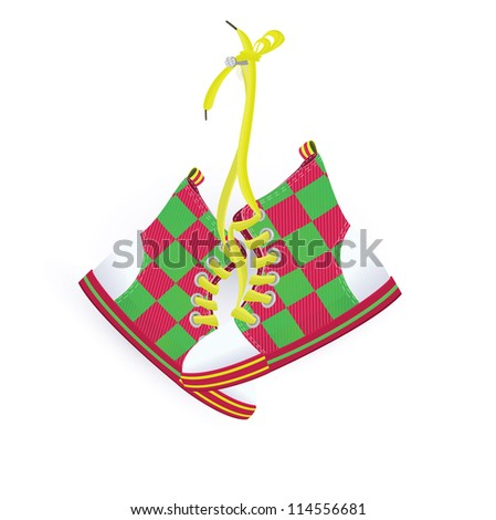 Raster illustration of two sneakers hanging on nail white background