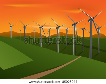raster illustration of wind turbine on the green fields in the sunset, vector version available