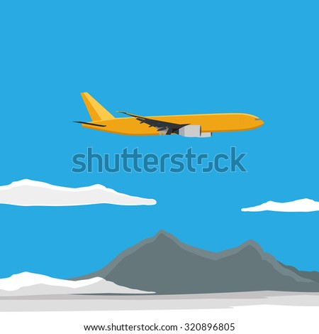 raster illustration of yellow airplane flying in the blue sky with clouds. Mountain landscape.  - stock photo