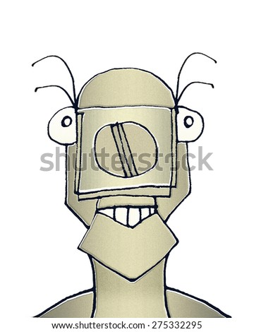 Raster illustration portrait of cute weird animal robot caricature in warm brown tones isolated in white background. - stock photo