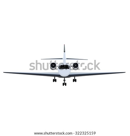 raster illustration private business jet flying in the sky. Commercial flight and airlines