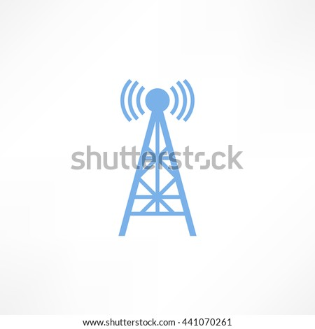 Raster illustration radio antenna wireless. Technology and network signal radio antenna. Wave tower radio antenna. Telecommunications radio antenna tower or mobile phone base station concept raster. - stock photo