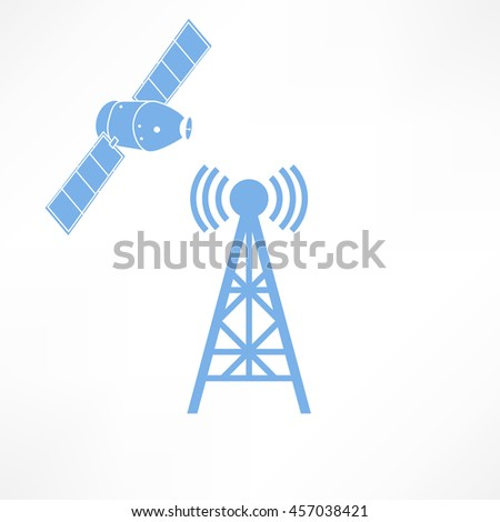 raster illustration radio antenna wireless. Wave tower radio antenna. Telecommunications radio antenna tower or mobile phone base station with engineers concept raster. Satellite icon - stock photo
