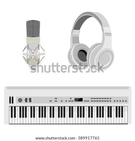 Raster illustration realistic white headphones, synthesizer and vintage microphone. Retro microphone isolated on white. Microphone and stereo headphones icon - stock photo