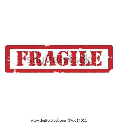 Raster illustration red grunge rubber stamp with text fragile - stock photo