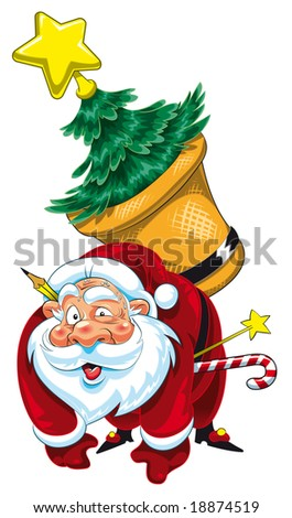 Raster Illustration - Santa Claus tired - High Quality