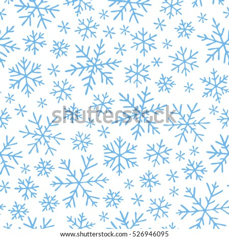 Raster illustration. Seamless pattern with hand drawn doodle snowflake. Winter pattern. White snowflakes on violet background.