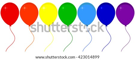 Raster illustration seven balloons with ribbon isolated on white background. Balloon icon. Festive balloons. Red, orange, yellow, green, blue and purple party balloons. Rainbow - stock photo