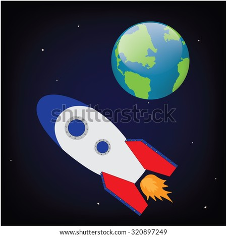 raster illustration space ship rocket in cosmos flying to earth planet. Rocket launch. Rocket toy - stock photo