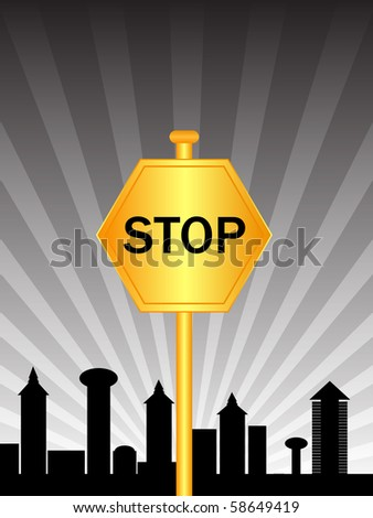 raster illustration stop sign city - stock photo