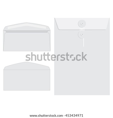 Raster illustration three white envelopes icon set. Blank mockups in three views, front and back, open and closed.