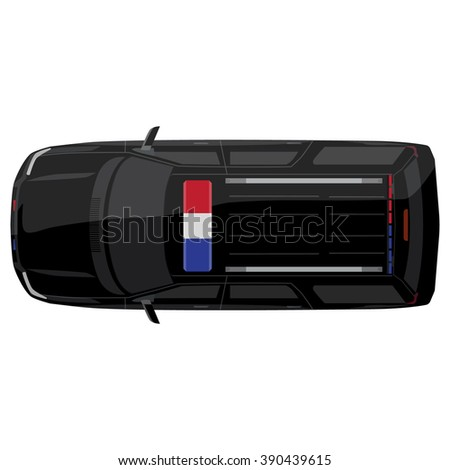 Raster illustration top view of a police car with bright police lights - stock photo
