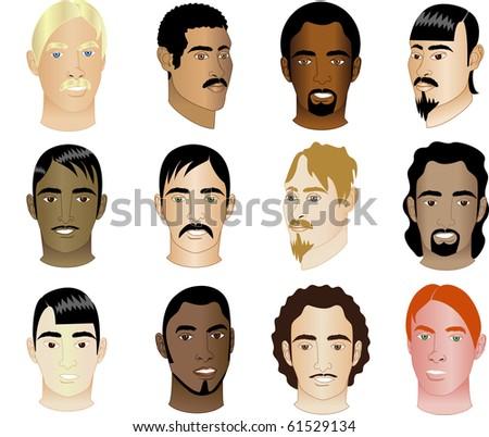 Raster illustration version of 12 Men Faces #1 - stock photo