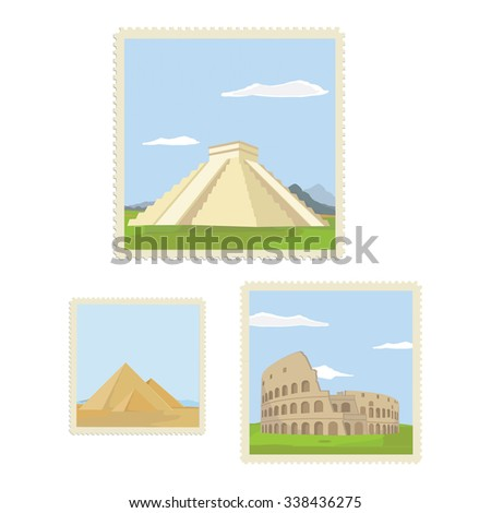 raster illustration vintage post stamps with architectural historical sites. Travel icon. CHichen itza in Mexico. Colosseum in Rome. Giza pyramids in Egypt. Postage stamp set - stock photo