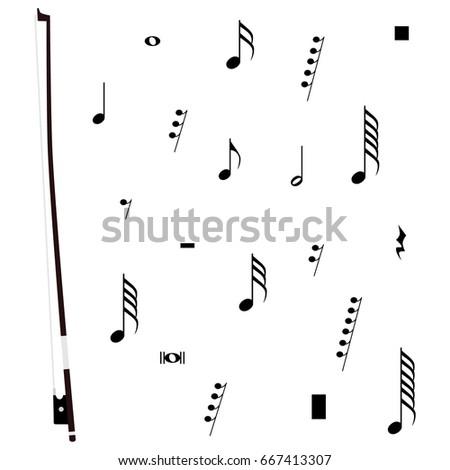 Raster Illustration Violin Bow Musical Notes Stock Illustration