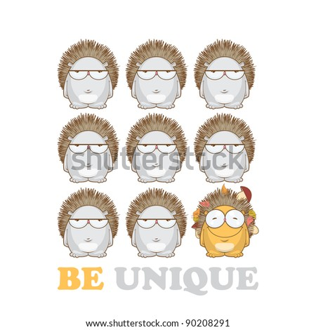 Raster illustration with hedgehogs. - stock photo