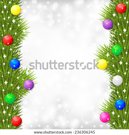 Raster illustrations of Christmas greeting card with fir branch garland decorated multicolor balls on gray blur background with snowflakes