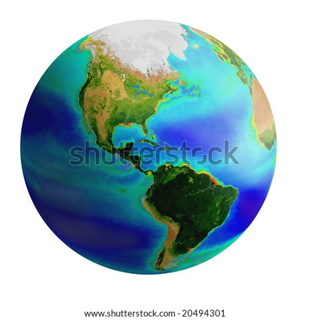 raster image of earth from America side over white background