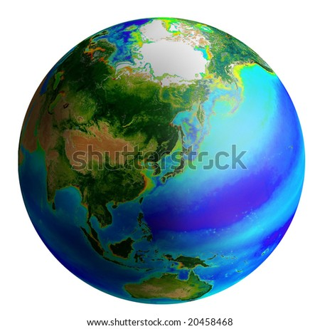 raster image of earth from asia side