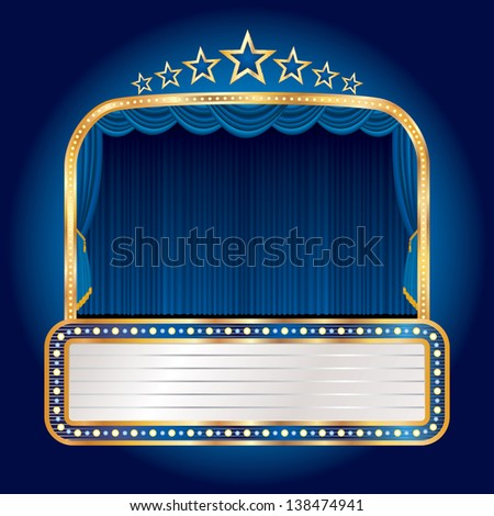 raster image of my vector illustration of the  blue stage with seven stars and blank billboard - stock photo