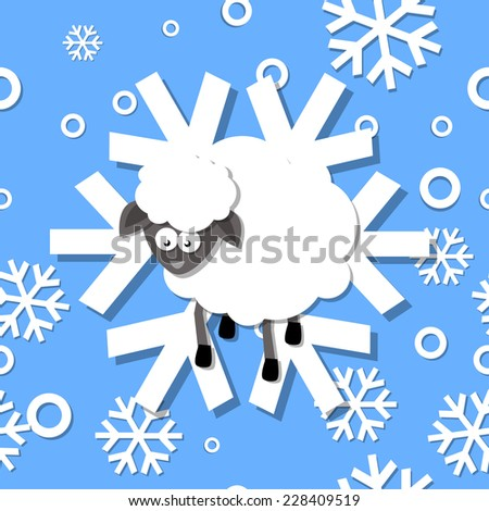 Raster image of Seamless pattern winter 2015 with sheep and snowflakes - stock photo