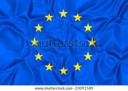 Raster image of the flag of the european union - stock photo