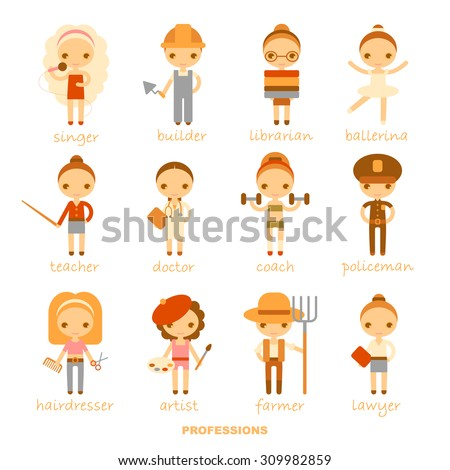 raster isolated cartoon illustrations of professions - stock photo