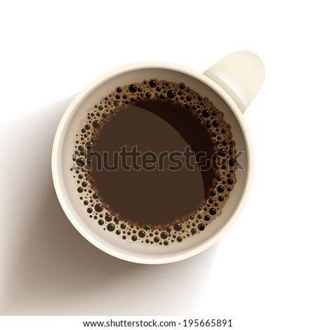 Raster isolated realistic vector cup of hot coffee. - stock photo