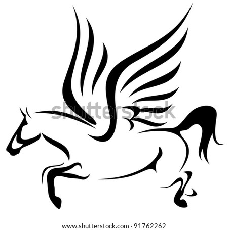 raster - jumping pegasus illustration - symbol of inspiration (vector version is available in my portfolio) - stock photo
