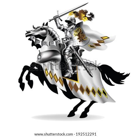 Raster, Knight with sword on horseback in white on white background  - stock photo