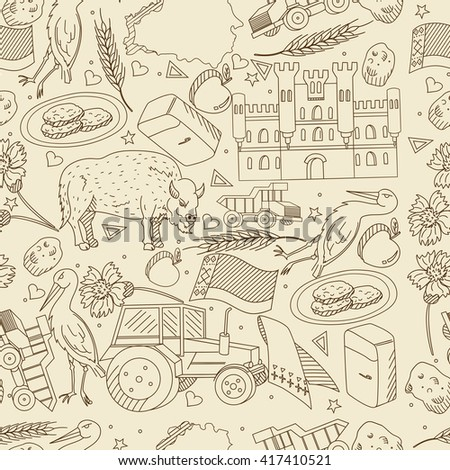 Raster line art Doodle set of cartoon characters and objects on Belarus. Seamless retro