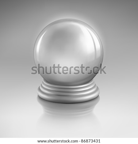 Raster magic crystal ball of glass and silver. Empty snow globe. - stock photo