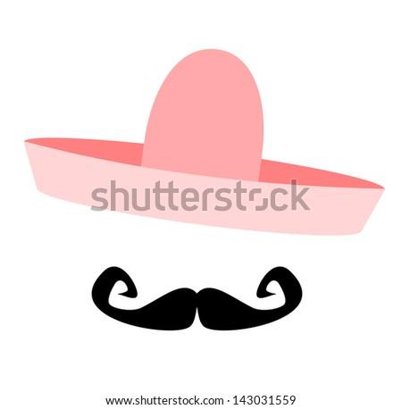 raster man wearing pink sombrero - stock photo