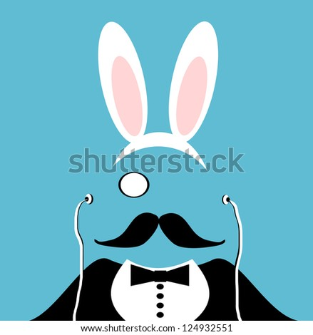 raster man with monocle and mustache wearing easter rabbit ears - stock photo