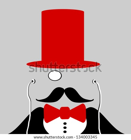 raster man with red bow tie and top hat - stock photo