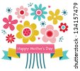 Raster Mothers Day card in bright colors, with vintage ribbon banner and retro style flowers. Also great for birthday, thank you, social media, web banner. - stock photo