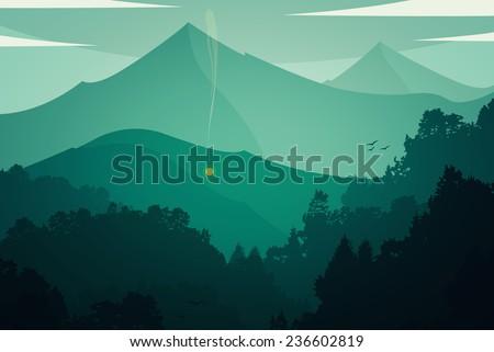 Raster mountain landscape - stock photo