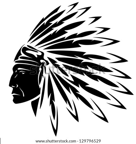 raster - North American Indian chief illustration (vector version is available in my portfolio) - stock photo