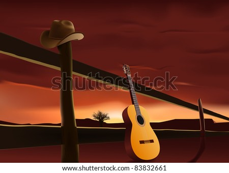 raster nostalgic scene with cowboy hat and guitar, vector version available - stock photo