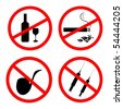 Raster of: No smoking, No alcohol and no drugs signposts - stock photo